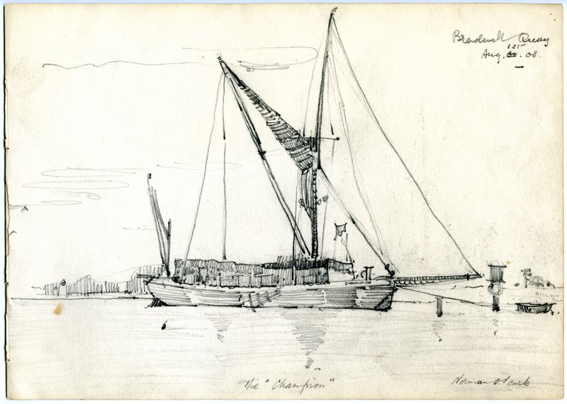 Bradwell Quay 1st August 1908. The CHAMPION. Drawing by Norman. O. Searle 