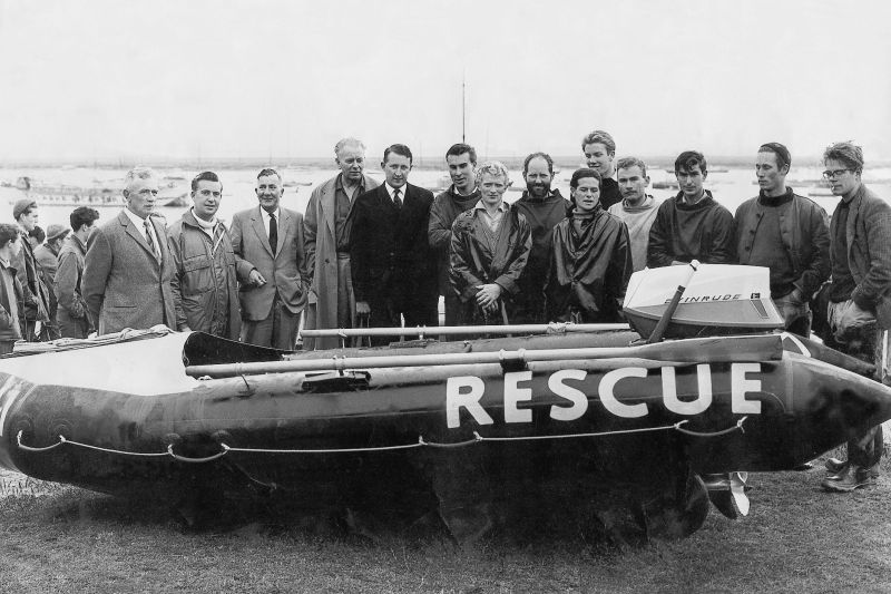 West Mersea's first Inshore Lifeboat and supporters.
