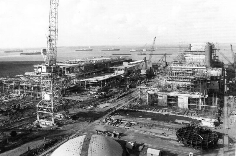 Bradwell Power Station under construction. Vessel to the left of the crane is thought to be PUNTARENAS. Date: c1958.