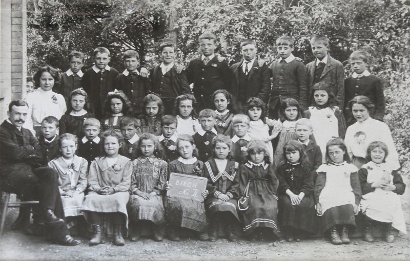 Birch School group No.2, c1890. Headmaster Mr Chandler ( or Mr Walsh )on the left. 