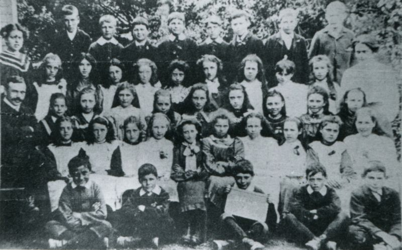 Birch School group No.1, c1890. Headmaster Mr Chandler on the left.