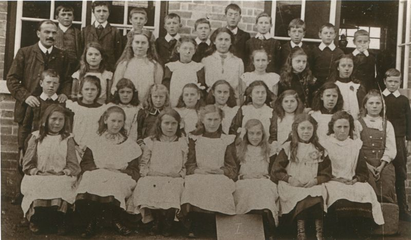 Birch School group I. 1890s. Headmaster Mr Chandler on the left.