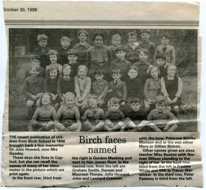 Birch School. School photograph from 1946, published in a local newspaper in 1998.