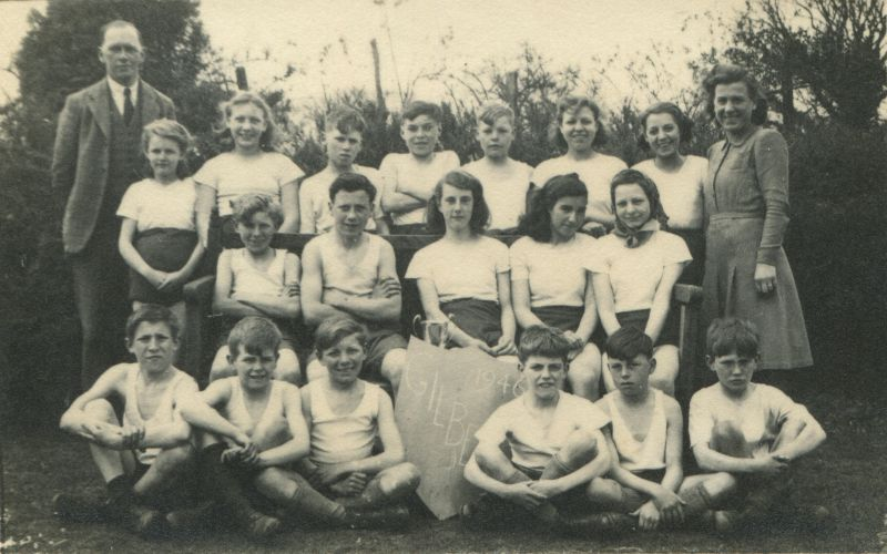 Birch School 1946. Gilbert House Sports Team - Interhouse Football and Netball.