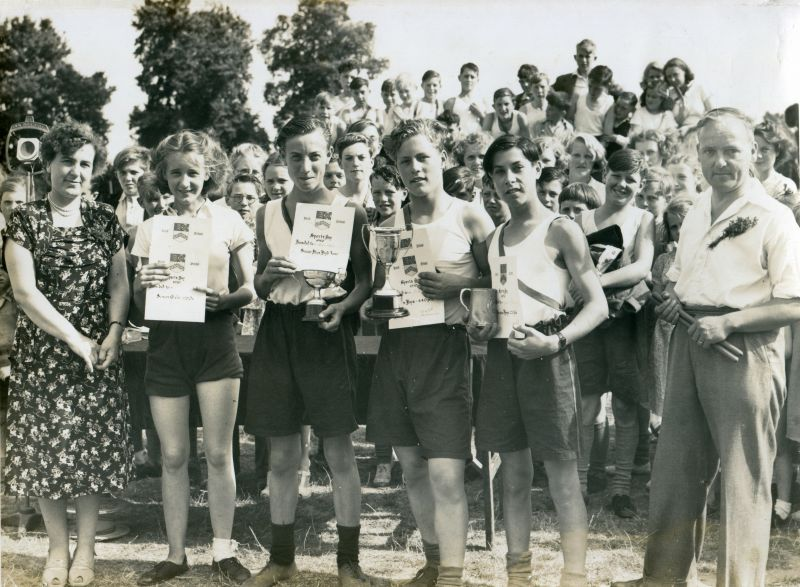 Birch School. Sports Day 1950. Mr Morton on the right - he was a senior master at the school. 