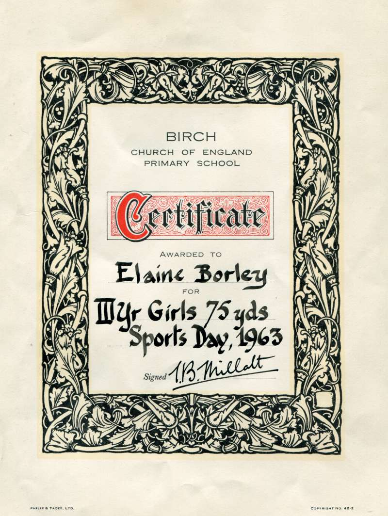 Birch School. Certificate awarded to Elaine Borley for III year girls Sports Day, 1963. 