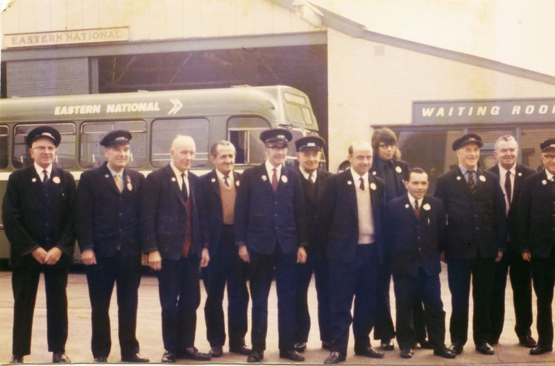 Drivers and conductors at the Eastern National bus station at West Mersea, the day before the depot closed in 1973. Originally built for Primrose buses, it is now the site of MICA and the bus garage is the MICA large hall.