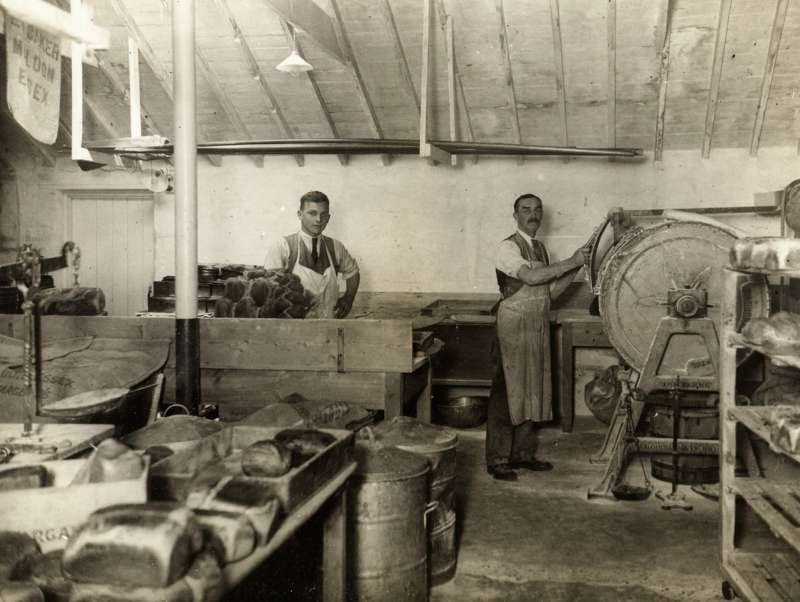 Fred Herbert Smith and Preston Smith in the Bakery at West Mersea Mill. 