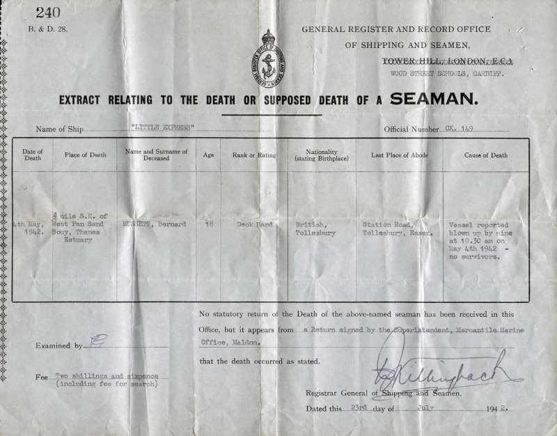 General Register and Record Office of Shipping and Seamen. Extract relating to the death or supposed death of a Seaman.