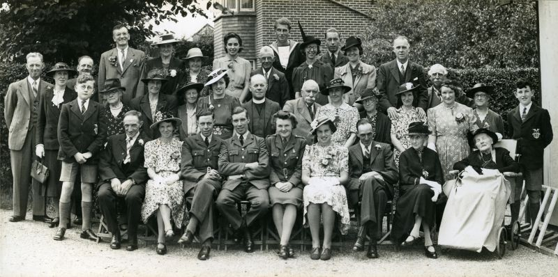 Wedding of Miss Winifred Edge, A.T.S., of Hanmer, Shropshire to Eric Archibald French, Corporal, RAF, at the Methodist Church 10 August 1943.