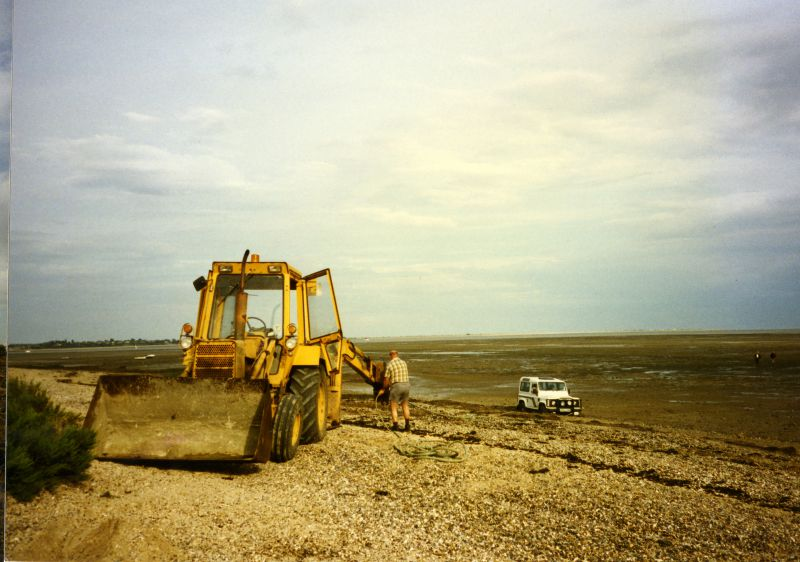 Ralph to the rescue - Shell Beach, Fen Farm. Land Rover in the mud. 
