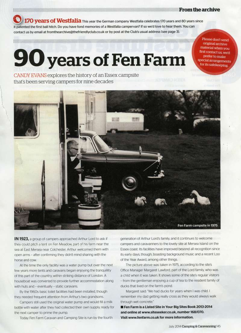 90 years of Fen Farm. Candy Evans explores the history of an Essex campsite that has been serving campers for nine decades.