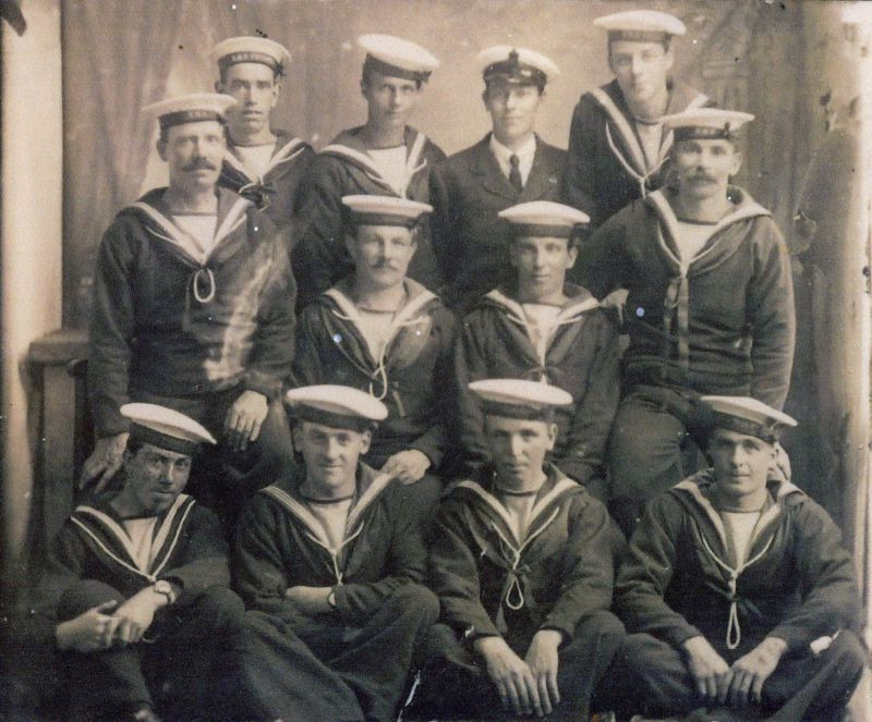 Some of the crew of HMS INDUSTRY. The vessel was sunk in the Irish Sea 18 October 1918. 20 men were lost, including 6 men from Mersea Island.