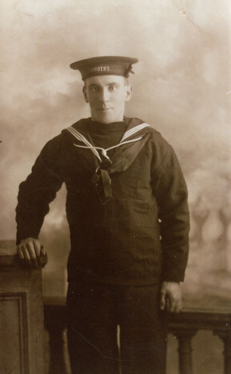 Fireman Alfred John Mole, Mercantile Marine Reserve. He was lost with HMS INDUSTRY in the Irish Sea, 18 October 1918.