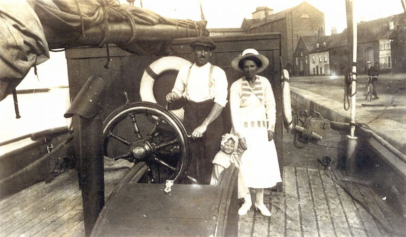 Ketch barge ZENOBIA at Wells, Norfolk about 1922-23 Capt. Billy Green (a cousin to Ron Green's father) with wife Daisie and daughter Una (Derek Rayner's mother).