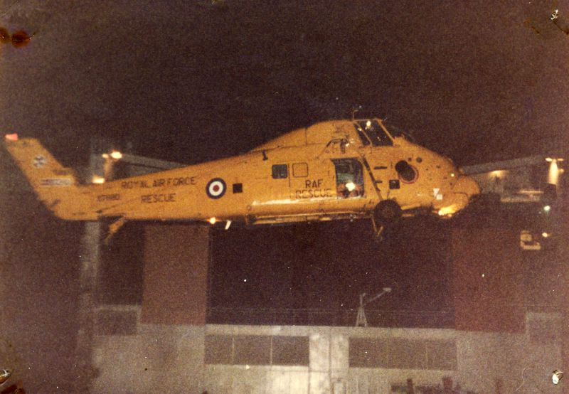 West Mersea Lifeboat pictures - RAF Westland Wessex helicopter and laid up ship CONTENDER BEZANT. Date: c1984.