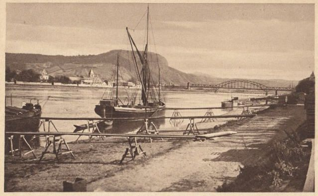 Remagen and Ludendorf Bridge on the Rhine, after 1919. Sailing barge alongside the staging. 