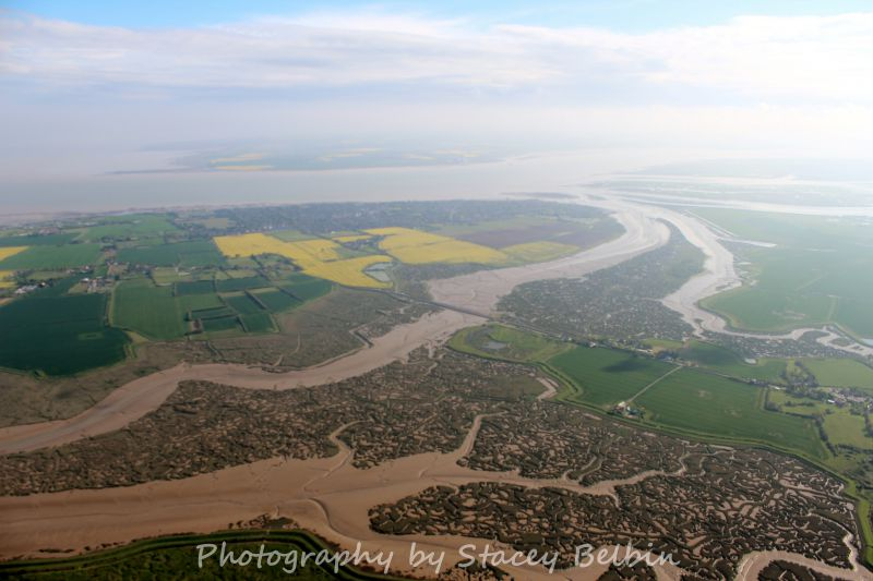 View southwest across the western side of Mersea Island to the Blackwater. The Strood is in the centre.