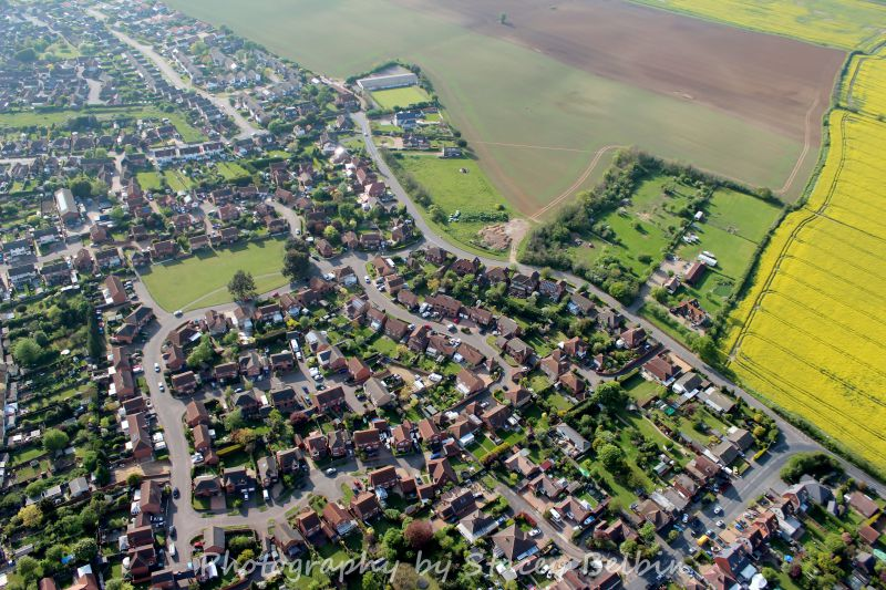 View northwest. The Colchester Road - Mill Road junction is lower right.