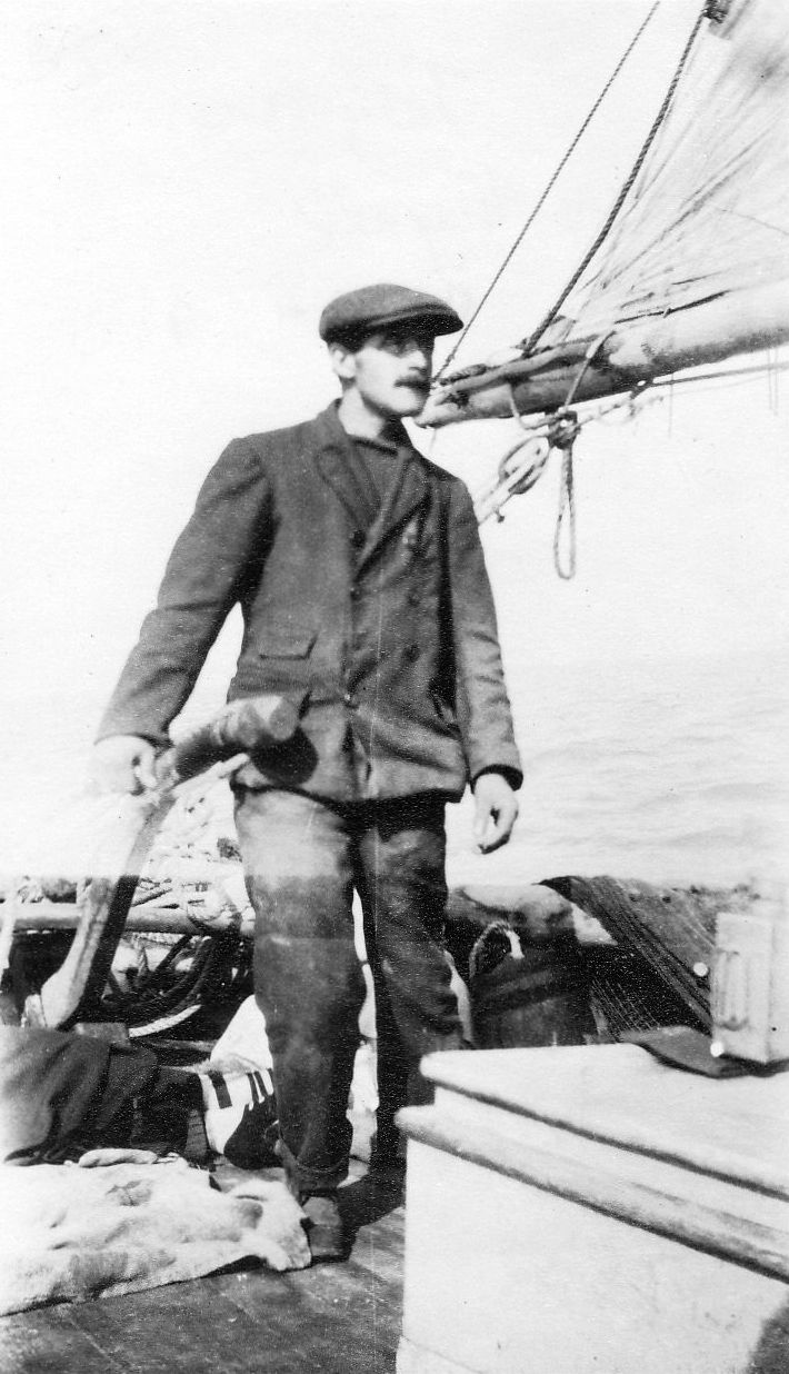 Tollesbury fisherman Harry Myall at the tiller of family smack S.W.H., named for Sidney, William and Harry Myall - taken early 1900s. 