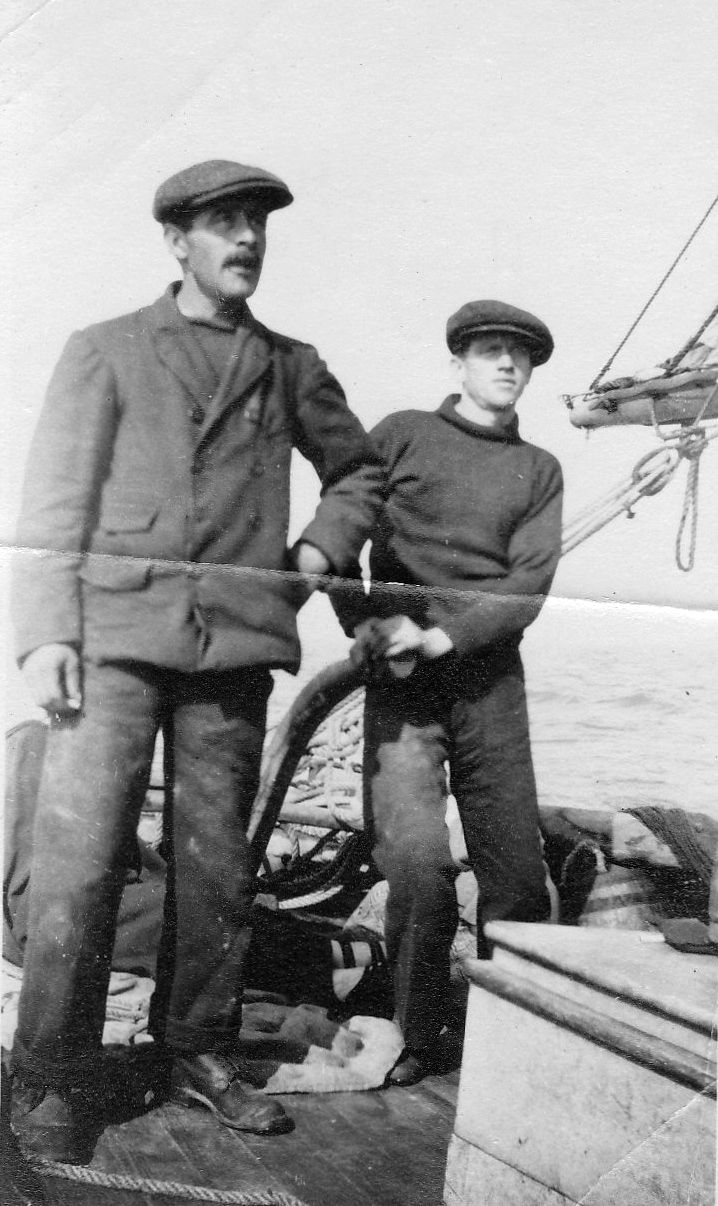 Tollesbury fisherman Harry Myall on the left - Person at the tiller not known. Smack S.W.H. 492CK 