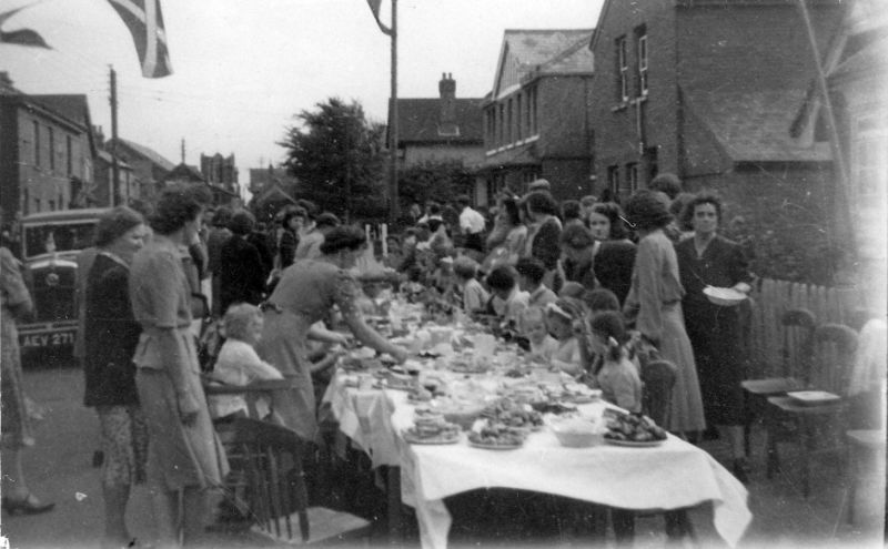 Peace celebration street party after WW2, in Station Road, Tollesbury. 