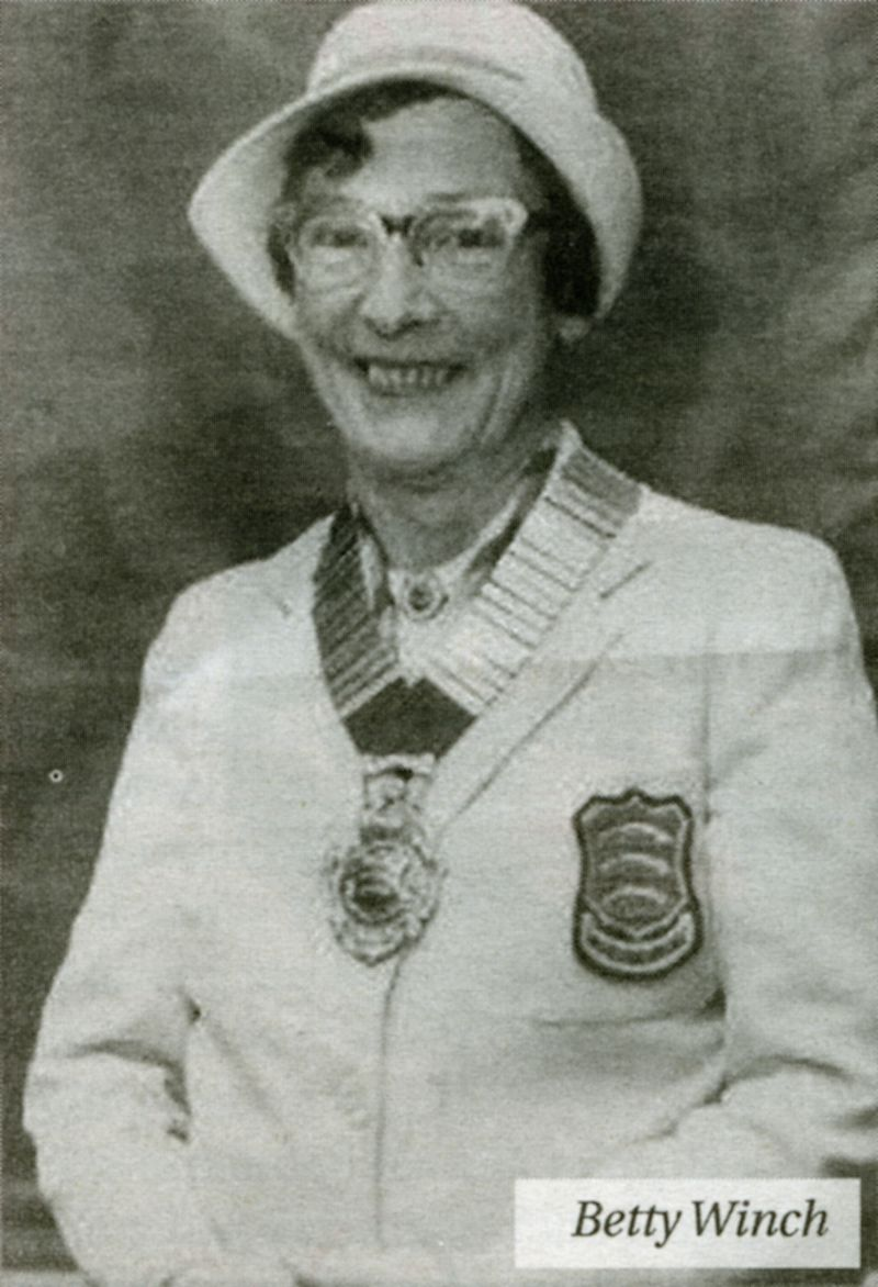 Betty Winch. She was the prime mover in the formation of the ladies section of Mersea Island Bowling Club in 1951, and became president of the Essex County Women's Bowling Association in 1974.