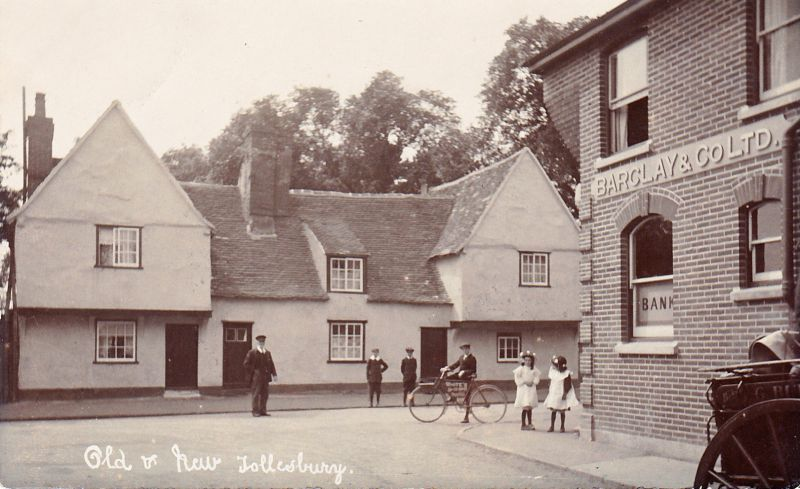 Old and New Tollesbury. Barclay & Co. Bank. White's trade bicycle.