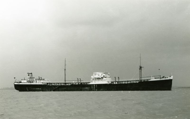 Shell Tanker NUCULANA laid up in the River Blackwater. Date: 1958.