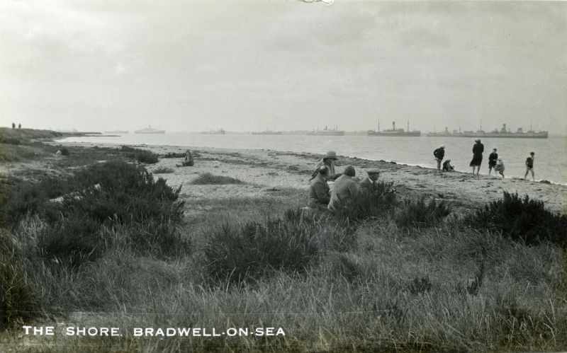 The Shore, Bradwell on Sea. The ship second from the left is believed to be the VOLTAIRE. Date: Before May 1932.
