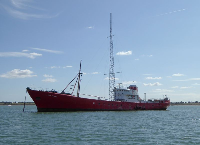 The Radio Caroline ship ROSS REVENGE laid up in River Blackwater.