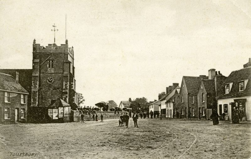 Square and Church, Tollesbury. Postcard mailed 26 April 1905.