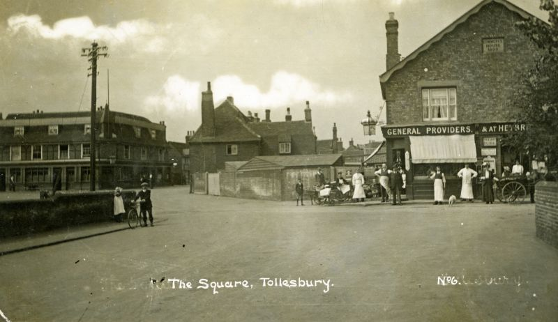 The Square, Tollesbury. Kings Head on the left. Postcard mailed 7 August 1919. 