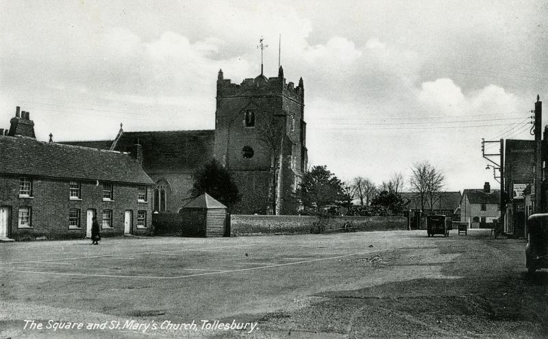 The Square and St. Mary's Church, Tollesbury. Postcard. 