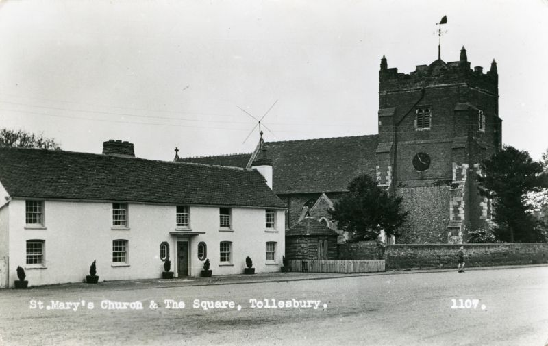 St. Mary's Church and The Square, Tollesbury. Postcard 1109 mailed 30 October 1961.. 