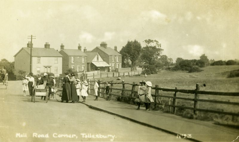 Mell Road Corner, Tollesbury. Postcard.