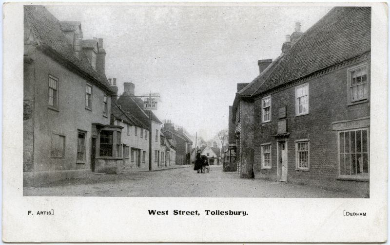 West Street, Tollesbury, but actually High Street. Kings Head on the left. Postcard by F. Artis, Dedham.