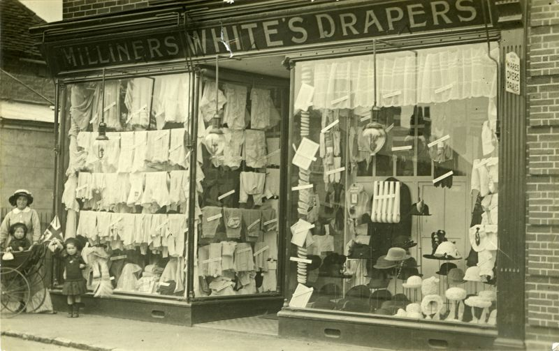 Whites Milliners Drapers shop, Tollesbury. Postcard. 