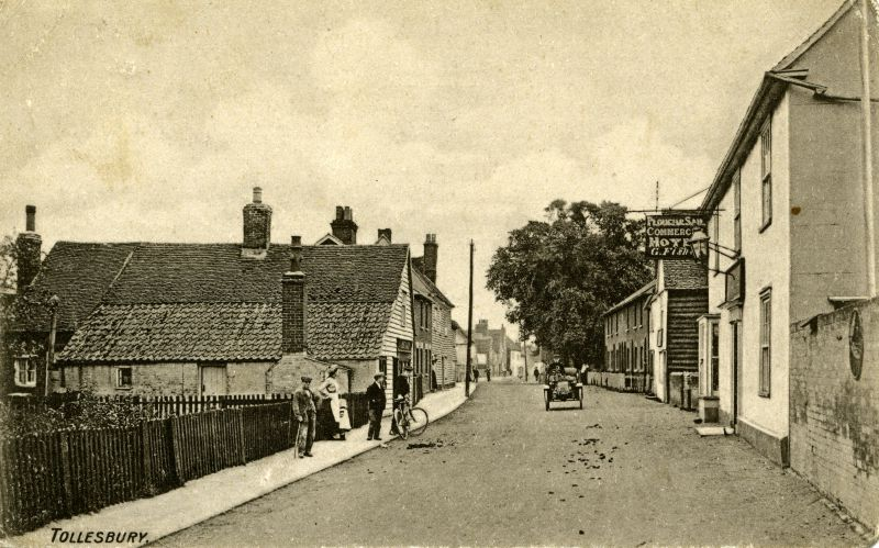 West Street, Tollesbury. Plough and Sail Commercial Hotel. G. Fisher. Postcard mailed 30 March 1907.