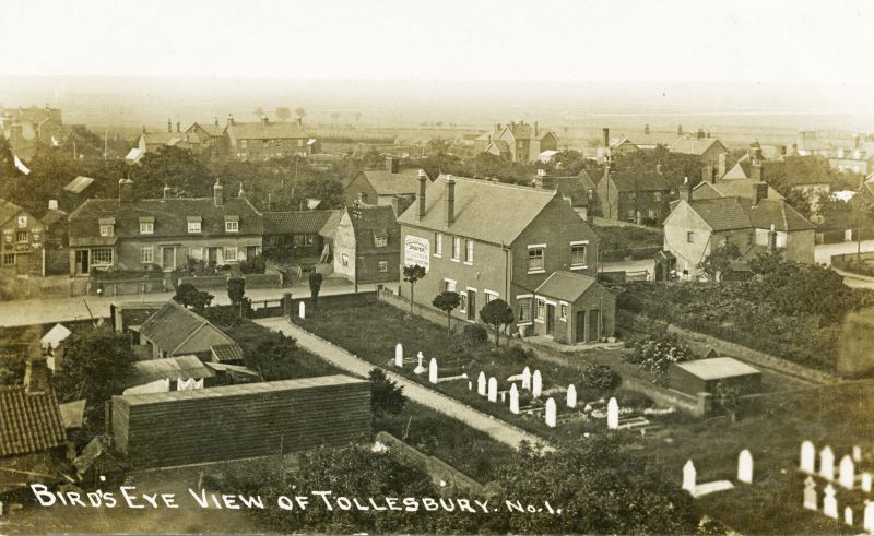 Birds Eye view of Tollesbury. Postcard No.1 written 25 June 1915. 