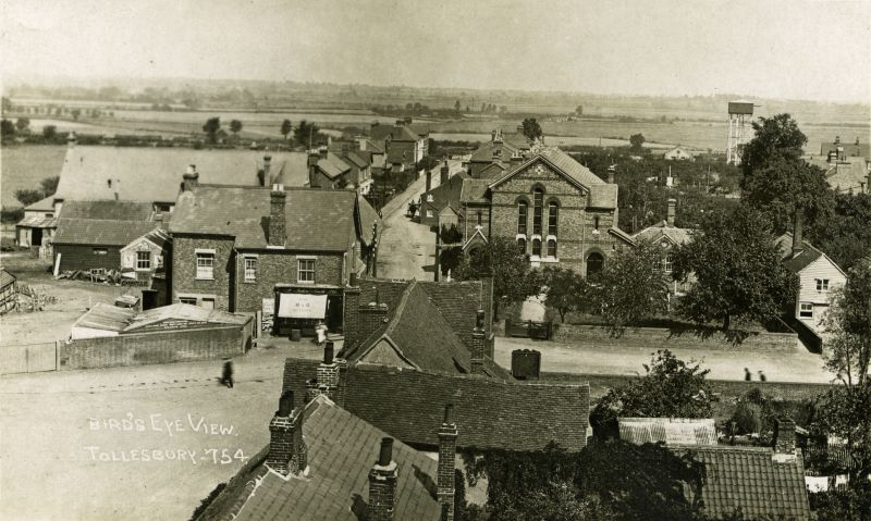 Birds Eye view Tollesbury, looking north. Postcard 754. 