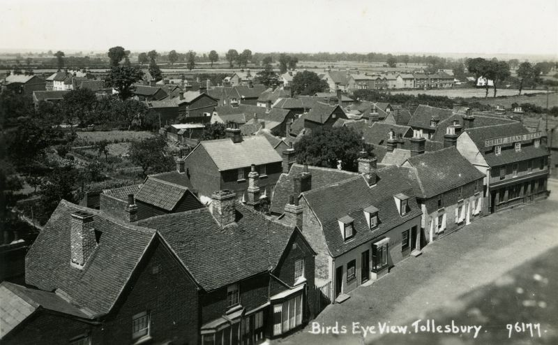 Birds Eye view Tollesbury looking northwest. Kings Head on right - Shrimp Brand Beers. Postcard 96177 mailed 22 September 1930. 