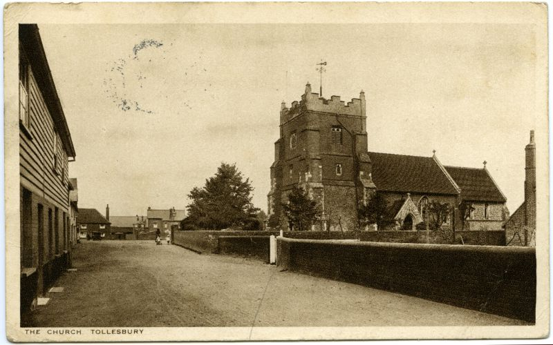 St Mary's Church, Tollesbury. Postcard mailed 11 August 1926, published by F. Lord, Post Office, Tollesbury. 