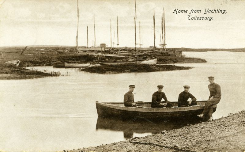 Home from yachting, Tollesbury. Postcard written 11 January 1916. 