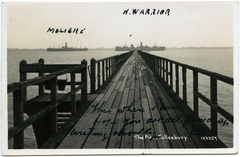 The Pier, Tollesbury. Postcard 126357, mailed but date unreadable.