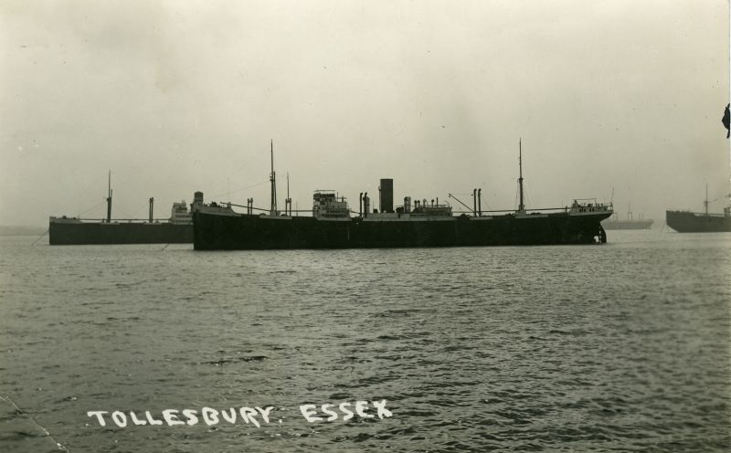 Postcard showing vessels laid up off Tollesbury. The centre vessel is LONDON CITIZEN. Date: 1935.