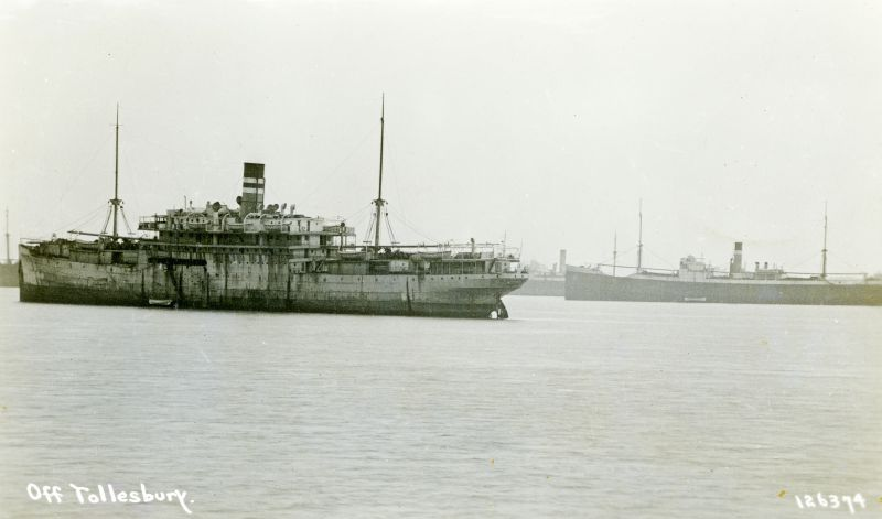 Ships laid up in the River Blackwater off Tollesbury. The ship on the right is believed to be CITY OF GUILDFORD. Date: Before 20 October 1932.