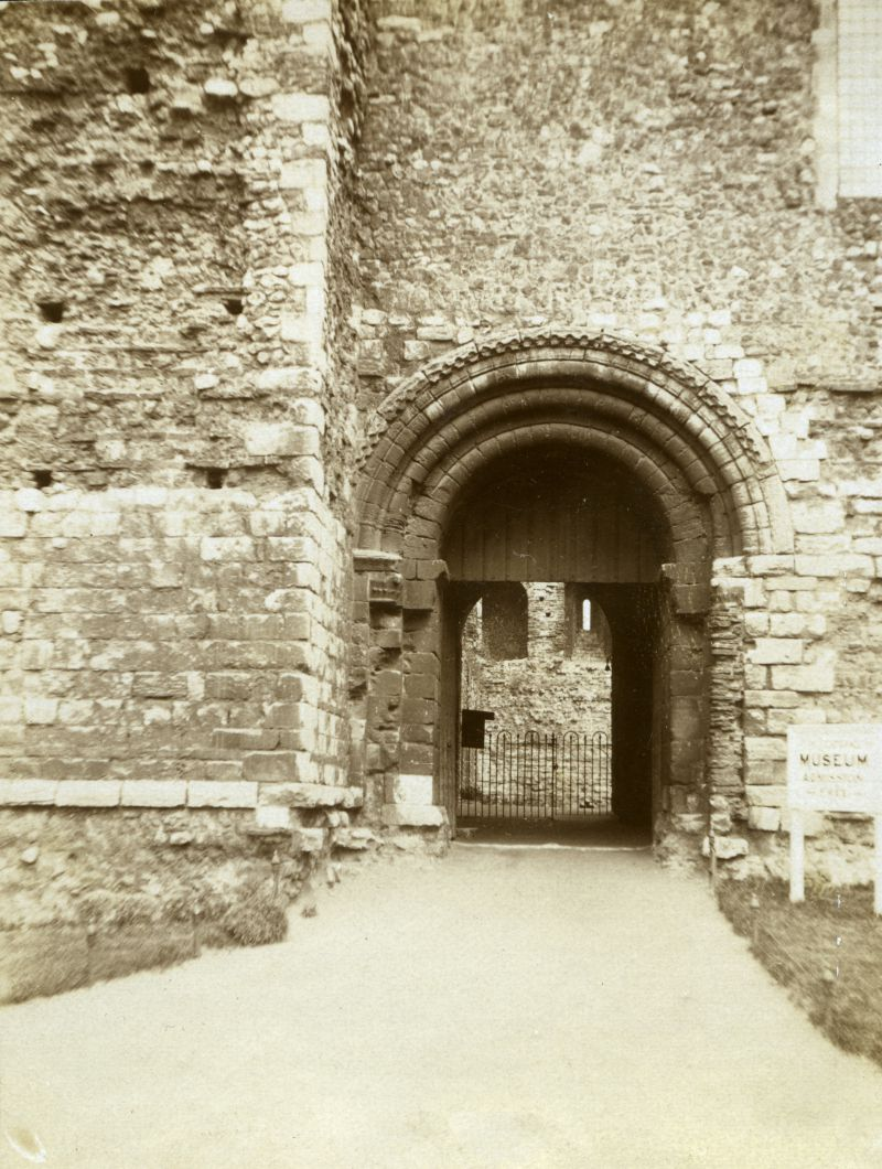 Colchester Castle. There is no roof inside, dating the photograph before about 1930. 