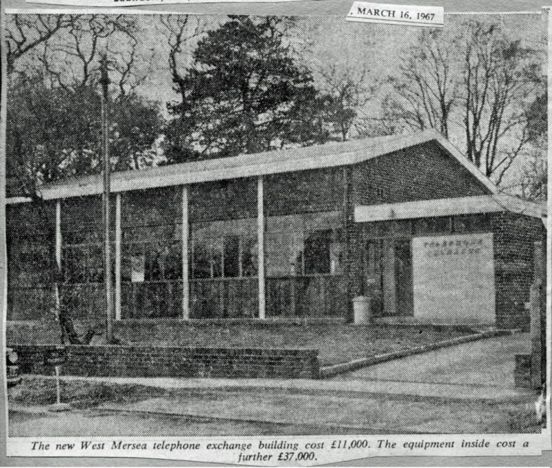 The new West Mersea telephone exchange building cost £11,000. The equipment inside cost a further £37,000. 
