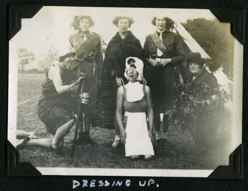 Girl Guides - Camp 1934. Dressing Up. 